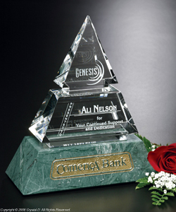 The Vandalia Pyramid awards are handcrafted. As a result, slight variations in veining and color gives each award a distinctive quality. Consider this award to recognize the individuality of an achievement or milestone.